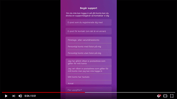 Skärmdump från video om hur man kontaktar Instagram
