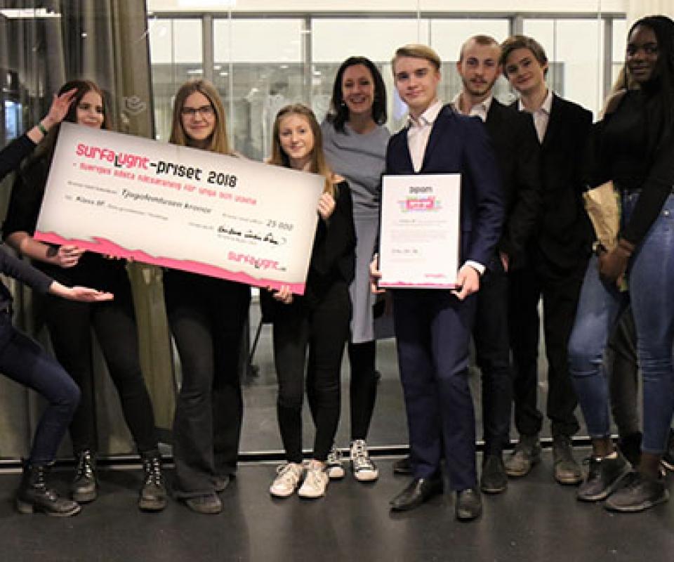 Vinnare av Surfa Lugnt-priset 2018: Klass 8F i Huddinge