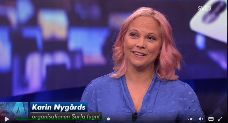 Karin Nygårds i Aktuellt 4 juni 2019.